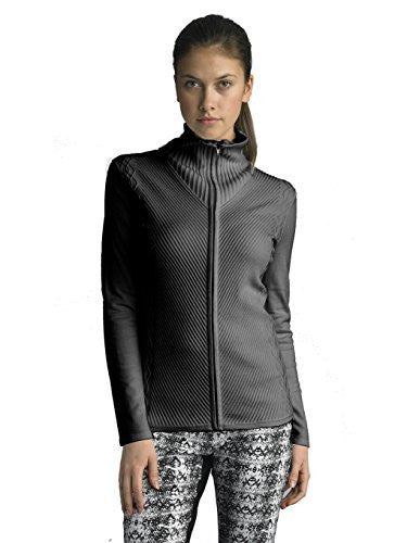 FOCUS 2000 Ladies Mock Neck Multi Cable Sweater Open Cardigan