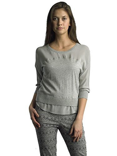 FOCUS 2000 Ladies Mix Media 2 Fry Round Neck Sweater