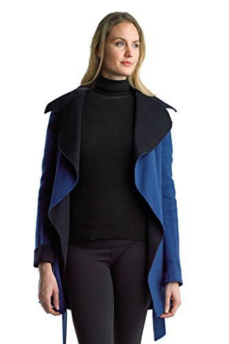Searle Women Trendy Collar Wool Coat With Sleeve (Blue)