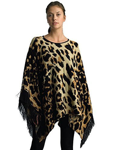 FOCUS 2000 Ladies Round Neck Animal Jacquard Sweater Cape