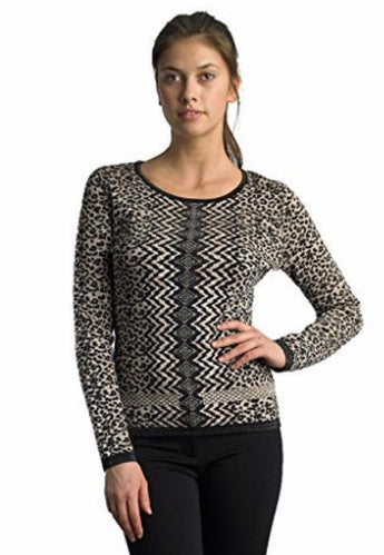 FOCUS 2000 Ladies Animal Jacquard Long Sleeve Sweaters