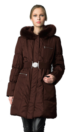 Searle Women 3/4 Length Pillow Collar Down Coat with Primaloft Filling (Dark Brown)