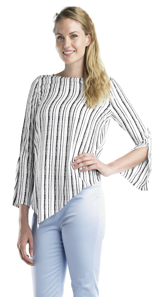 Ally NYC Women's Vertical Stripe Asymetical Blouse