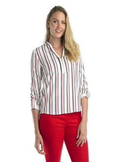 Ally NYC Women's Half Zip Roll Over Cuff Stripe Blouse