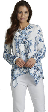 Ally NYC Women's Water Paisley Grommets Lace-up Blouse