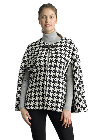 FOCUS 2000 Ladies Fashon Cape Black & White Houndstooth