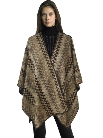 Ally NYC Women's Fashion Metallic Chevron Sweater Knit Cape