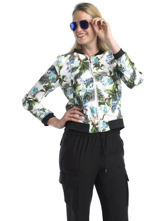 Ally NYC Women's Tropical Print Bomber Jacket
