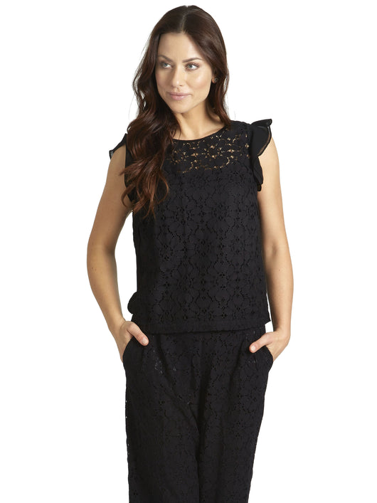 Ally NYC Women's Lace Front Ruffle Knit Top