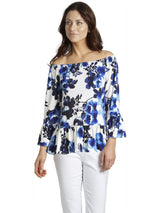 Ally NYC Women's Water Floral Print Off-Shoulder Knit Top