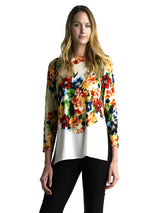 Ally NYC Women's Fresh Floral Print Layered Knit Top