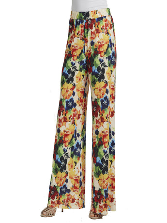 Ally NYC Women's Fresh Floral Easy to Wear Pull On Pants