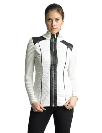 FOCUS 2000 Ladies Fashion Quilting Mock Neck Sweater Jacket (White & Black)