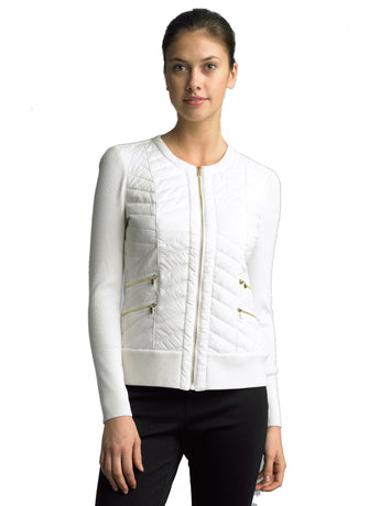 FOCUS 2000 Ladies Fashion Quilting Round Neck Sweater Jacket (White)
