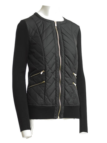 FOCUS 2000 Ladies Fashion Quilting Round Neck Sweater Jacket (Black)