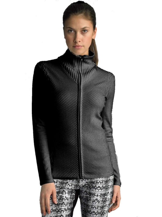 FOCUS 2000 Ladies Mock Neck Multi Cable Sweater Open Cardigan (Black)
