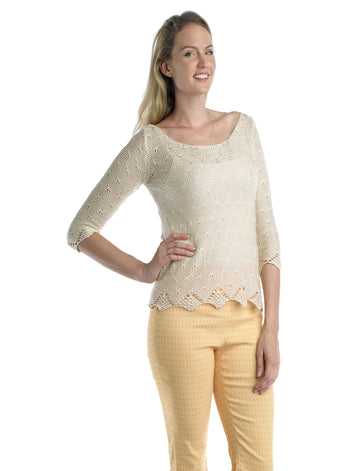 Ally NYC Women's 3/4 Sleeves Pointelle Sweater