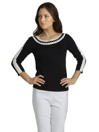 Ally NYC Women's Contrast Crochet Shoulder Line Sweater