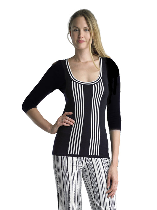 1663f69efa Ally NYC Women s Grommet Lace-up Back Stripe Sweater – Focus2000 New ...