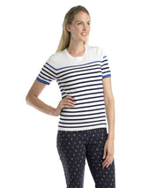 Ally NYC Women's Stripe Short Sleeves Sweater