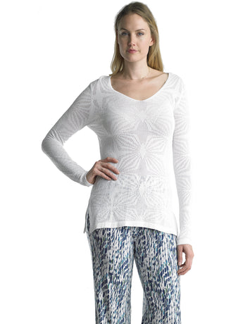 Ally NYC Women's Floral Pointelle Sweater