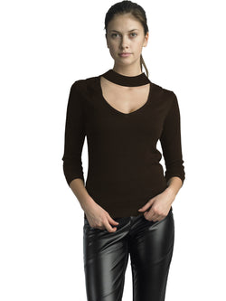 Ally NYC Women's Keyhole Chock Neck Sweater