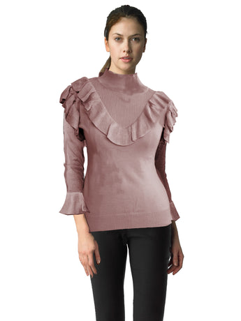 Ally NYC Women's Ruffle Turtle Neck Sweater