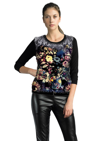 Ally NYC Women's Abstract Print Sweater