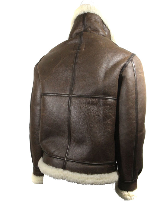 e322d8a258a ... MEN S AVIREX LDT B-3 BROWN LEATHER SHEEP SKIN SHEARLING BOMBER JACKET  W  TAG ...