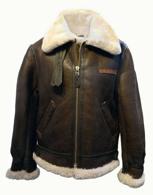 MEN'S AVIREX LDT B-3 BROWN LEATHER SHEEP SKIN SHEARLING BOMBER JACKET W/ TAG- MADE IN USA