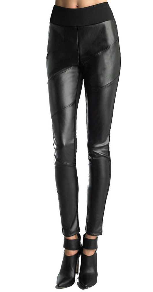 FOCUS 2000 Ladies Fashion Diagonal Faux Leather Pull On Pant (Black)