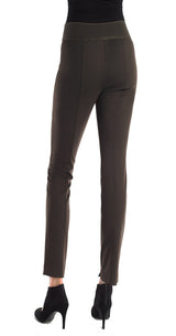 FOCUS 2000 Ladies Fashion Ponto Gold Zip Trim Shinny Pant (Light Grey)