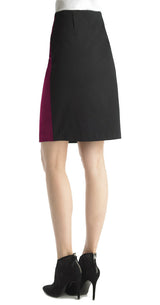 FOCUS 2000 Ladies Trendy Color Blocked Pencil Skirt (Dark Fuchsia)