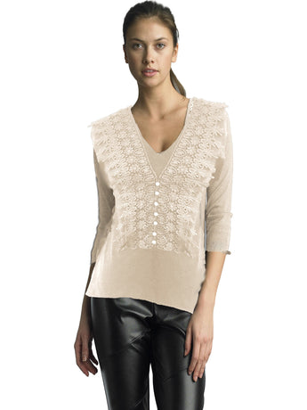 Ally NYC Women's Lace Trim V-Neck Sweater