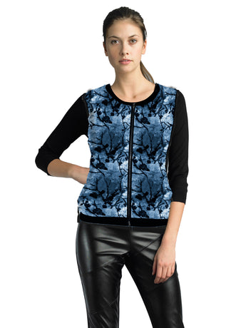 Ally NYC Women's Print Zip Front Sweater