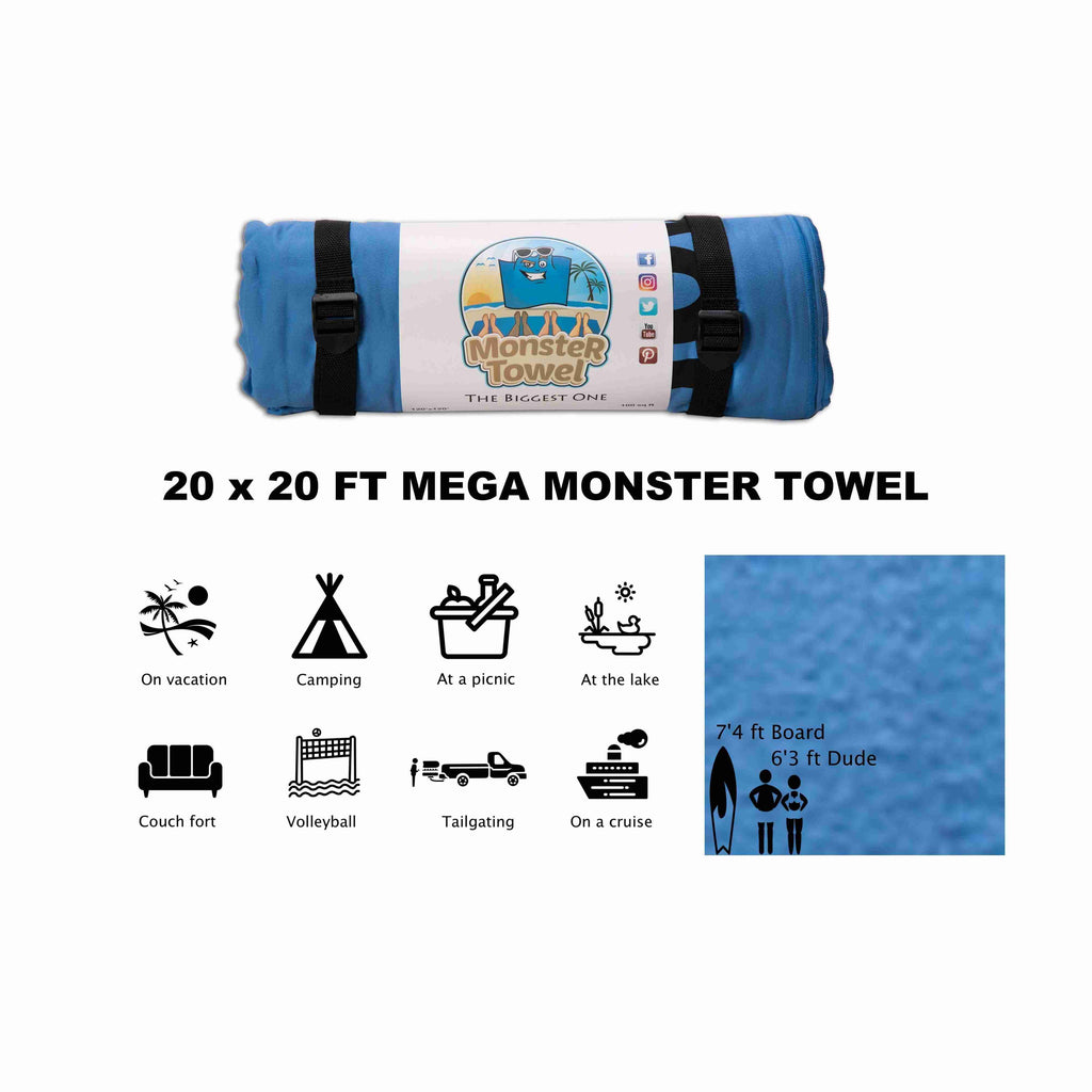 MEGA Monster Towel 20x20 FT Microfiber Beach Towel (Made to order - Ships in 8-12 weeks)