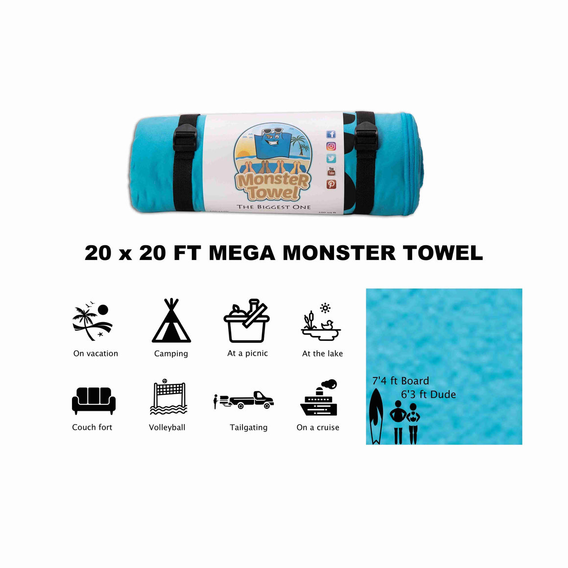 MEGA Monster Towel 20x20 FT (MADE TO ORDER SHIPS 60 to 90 DAYS)
