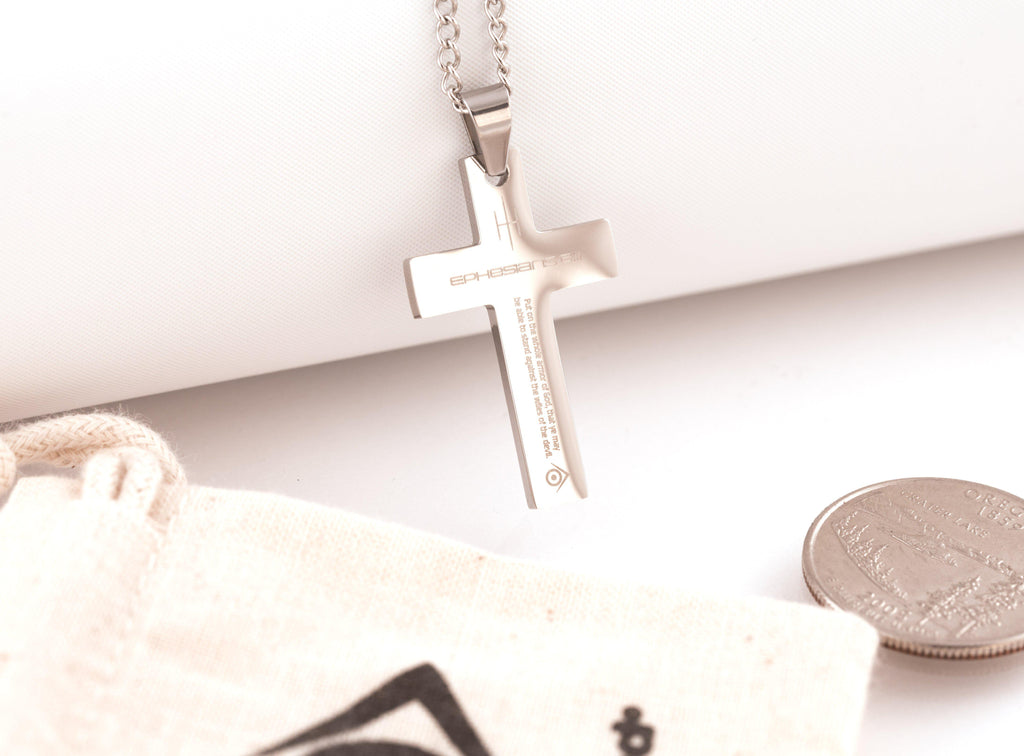 Evilkind® Unisex Stainless Steel Cross Necklace | feat. Ephesians 6:11 - The Armor of God - Evilkind
