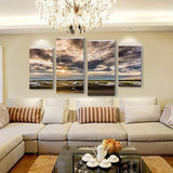Cloudy Airplane 4 Piece Wall Canvas Art