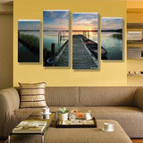 Fishing Dock 4 Piece Wall Canvas Art