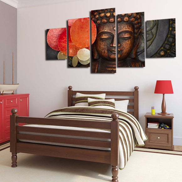 Buddha Modern 5 Piece Canvas Wall Art
