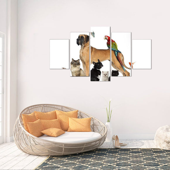 Animals and All 5 Piece Canvas Wall Art