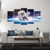 Astronaut Space Walker 5 Piece Canvas Wall Art