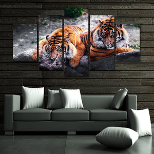 Feasting Tigers 5 Piece Canvas Wall Art