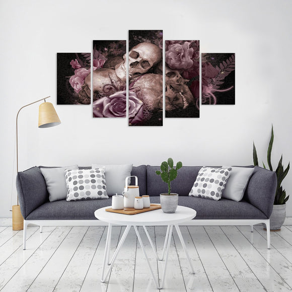 Skull + Roses 5 Piece Canvas Wall Art