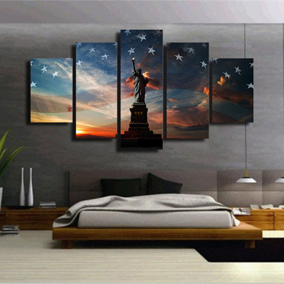 Statue of Liberty 5 Piece Canvas Wall Art