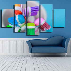 Dental Toothbrush 5 Piece Canvas Wall Art