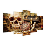 Ancient Skull Treasure Chest 5 Piece Canvas Wall Art