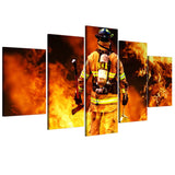 Brave Firefighter 5 Piece Canvas Wall Art