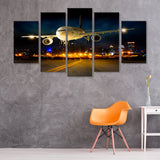 Airplane Night Flight Landing 5 Piece Canvas Wall Art